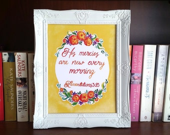 Bible Quote 'His Mercies are New Every Morning' Watercolour Print, home decor, inspirational, Lamentations 3:23, Motivational, scripture,