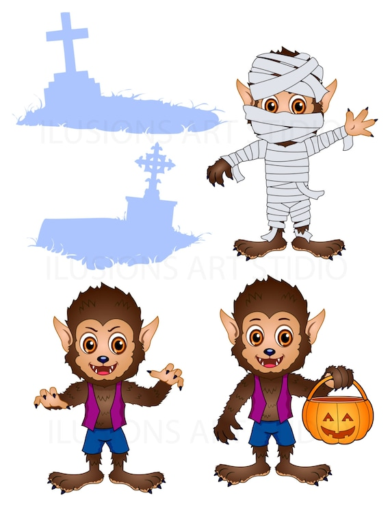 Cute Werewolf Poses and Props Clip Art and Scrapbooking