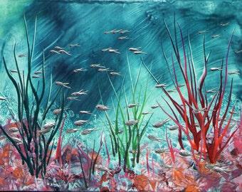 Encaustic painting Underwater Fish Scene