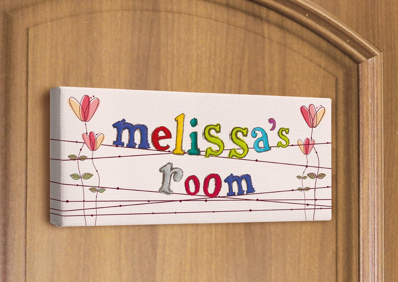 Girl Room Sign Kids Bedroom Door Custom Name Print By