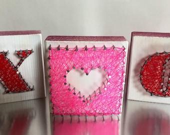 xoxo sign - valentines gift - valentines day decor - love sign - string art