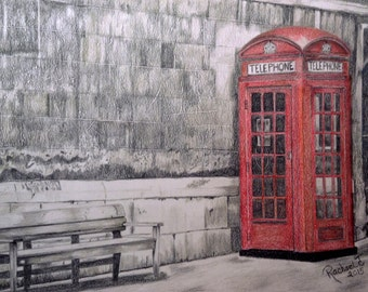 Red British Phone Booth - Colored Pencil Art