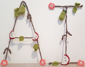 Crochet Personalised Initial - 'Apples & Pears'