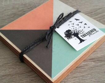 Colourful Geometric Pattern Wood Coasters