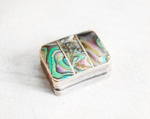 Unique Vintage Abalone Shell & Sterling Silver Pill Box - Iguala Hecho En Mexico 925 Trinket Box - Inlay Abalone