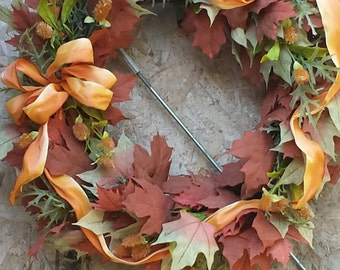 Handmade Natural Grapevine Wreath with Leaves & Grasses