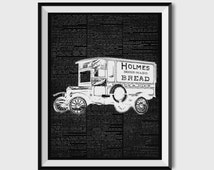 Old Car Decor, Vintage Car Print, Machine Poster, Technology Art, Dictionary Page  ZA098