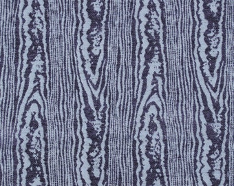 """The Tiny House Collection, Duralee Fabrics, """"Soto"""" in Navy Blue Moire. Super cool wood grain upholstery fabric."""