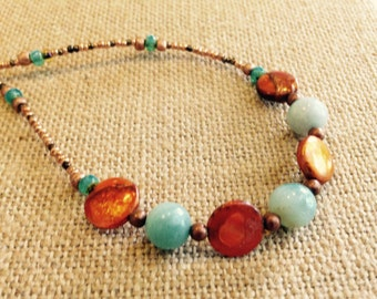 Jade, Freshwater Pearls, Copper, and Czech Glass Necklace