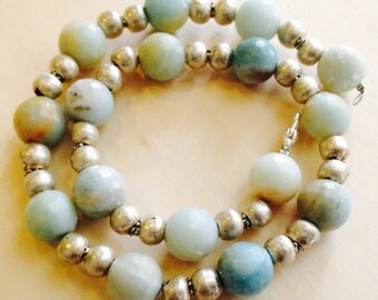 Pale Blues Amazonite and Silver Necklace