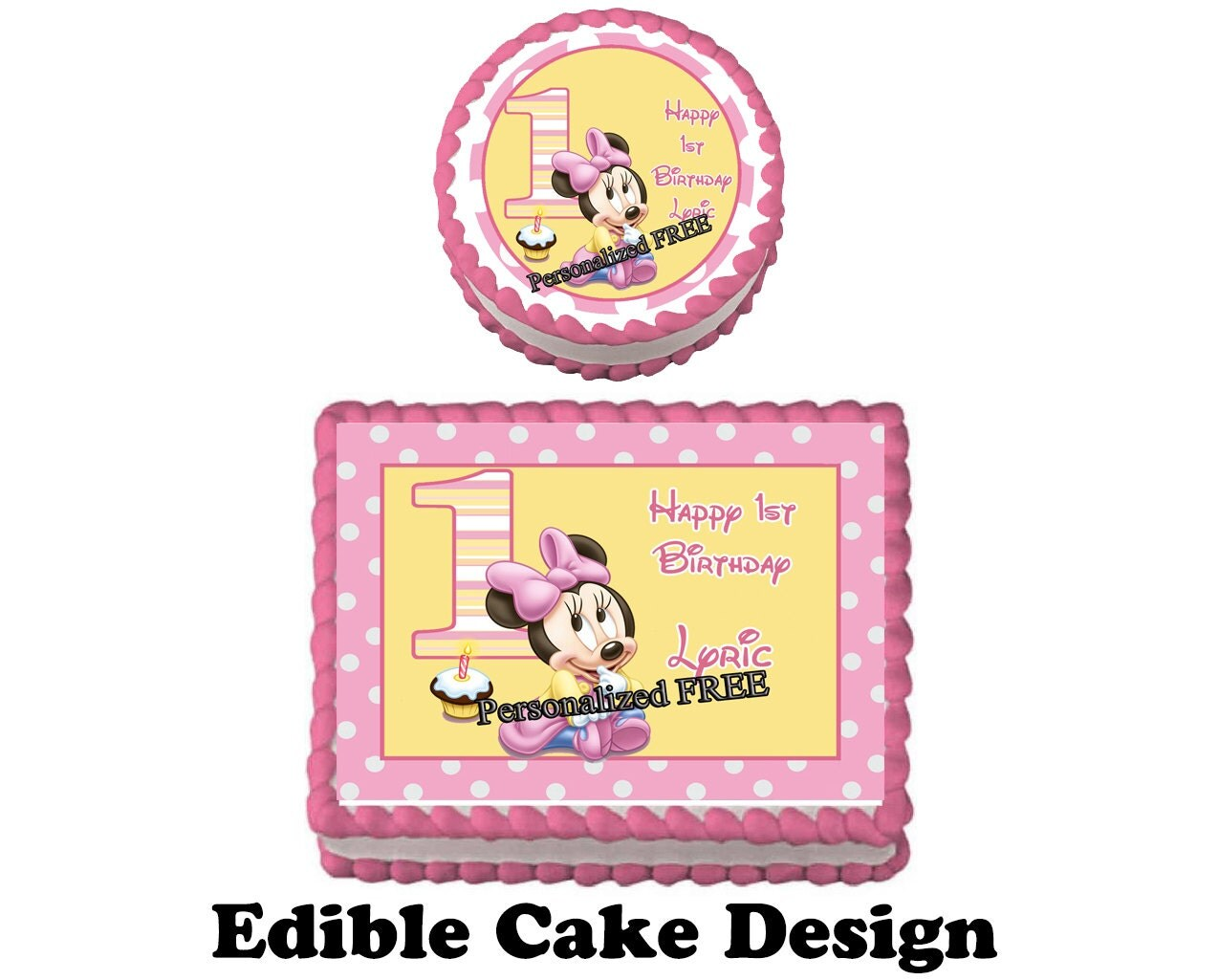 Edible Cake Images 1st Birthday : MINNIE MOUSE 1st Birthday Party Edible Image Cake by ...