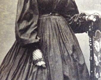 Black lace gloves. CDV original 1865-1875
