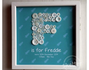 Button Letter Frame - Handmade Personalised Button Framed Keepsake Gift Picture, Medium (34x34cm)