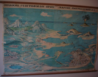 Original Pull Down School Chart, Map of Geographical terms, Land Map in Greek language, Vintage Map, Pull Down Map, School chart, Geography