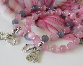 Cat Charm Bracelet / Cat's Eye Bead Bracelet / Love My Cat Bracelet / Pink & Grey Cat's Eye Bracelet / Stretchy Beaded Bracelet - Cat 02