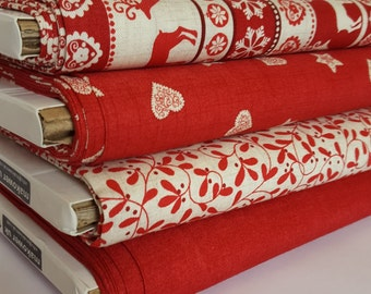 Fabric Makower Christmas Scandi collection 100% cotton sewing crafting quilting hearts and stars reindeer mistletoe by the mtre 1/2 metre FQ