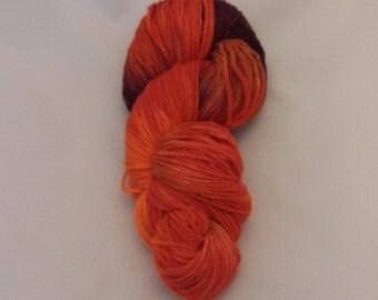 Alloy Orange- Merino Worsted Weight Yarn- Hand Dyed- OOAK