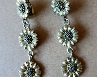 "Vintage Sunflower Dangle Earrings, Designer Signed, ""EH"" Excellent"