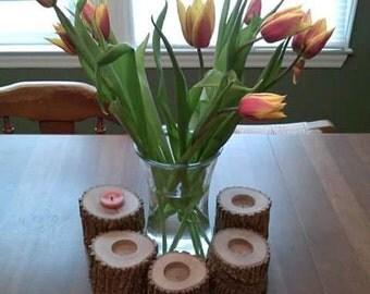 Wooden log tea lights