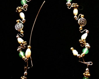 Celtic Jade Ear Climber Set