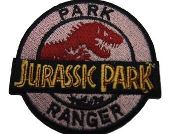 Jurassic Park Movie Ranger Dinosaur Skeleton Name Logo Embroidered Patch