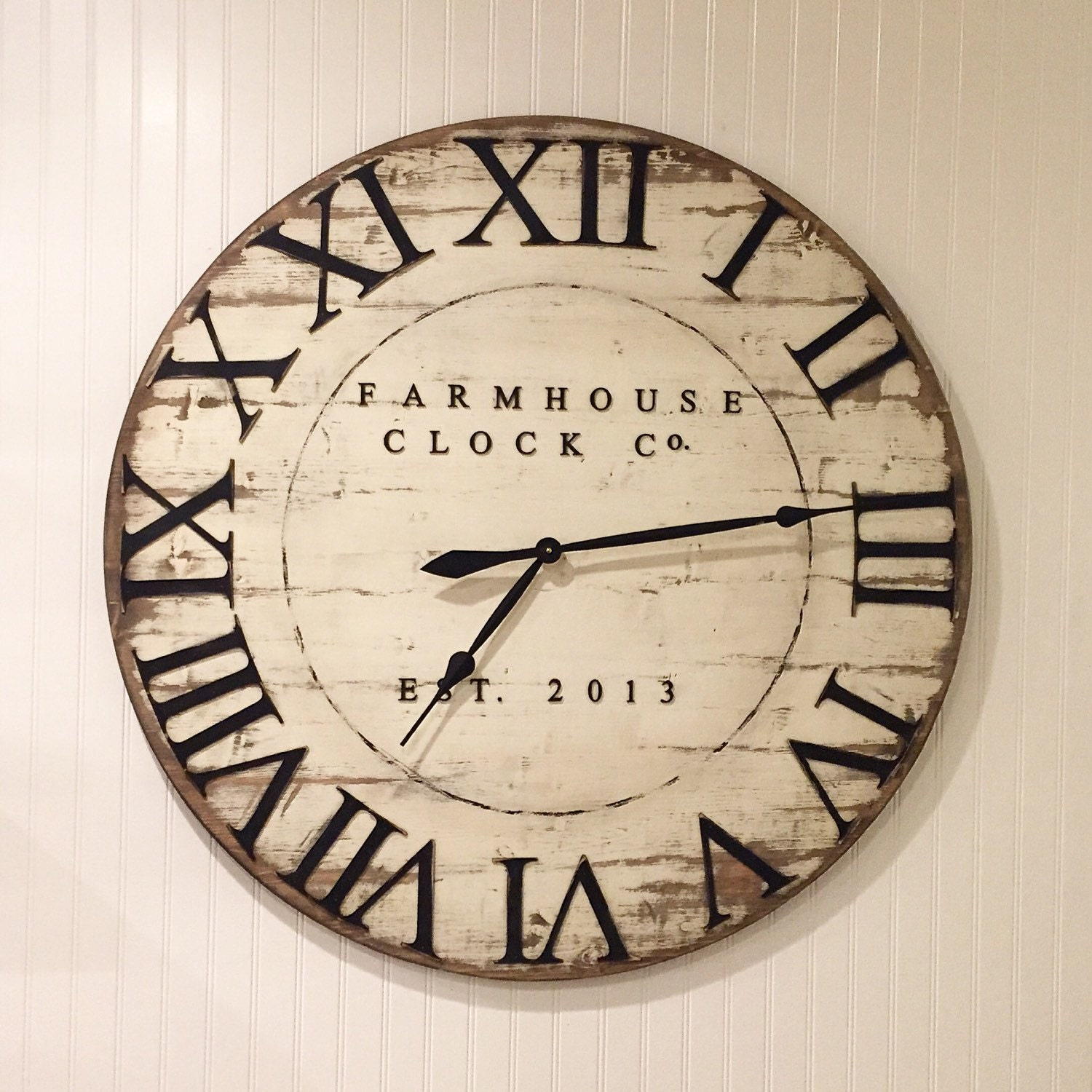 Farmhouse clock co distressed large round wooden wall clock extra large roman numeral farmhouse clock co 30 40 inch wooden clock amipublicfo Image collections