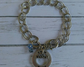 Swim Charm Bracelet// Custom Sports Bracelet// Swimming Gift// Swim Coach// Choose Sport & Crystal Color