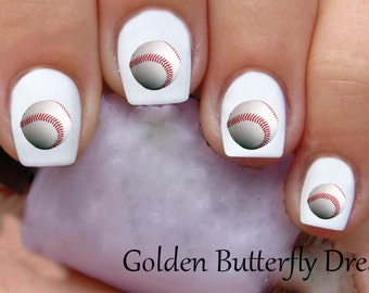 1022 Baseball Waterslide Nail Art Decals Enough For 2 Manicures