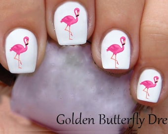 1170 Flamingo Slide Nail Art Decals Enough For 2 Manicures