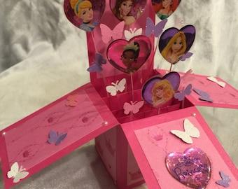 Princesses pop up birthday card