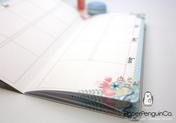 3 BOOK BUNDLE Midori Insert Weekly Calendar Regular A5 Wide B6 Personal A6 Pocket FN Passport WO2P Undated Floral Brown Traveler's Notebook