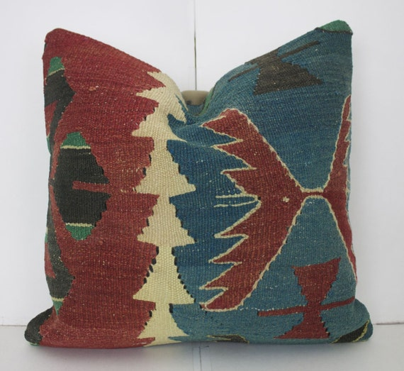 Blue Kilim Pillow Cover 16X16 Decorative Turkish Kilim Pillows
