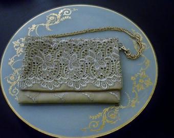 Evening Clutch,Lace clutch, Gold evening clutch, Gold  Purse, clutch bag, evening purse.