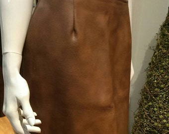 Vintage Leather Skirt 70'S 80'S made by  International Ladies Garment Worker Union FREE SHIPPING IN U.S.A.