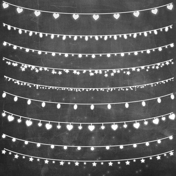 String Of White Lights Clipart : Chalkboard clip art: