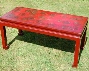 Red Laquer Gilt Coffee Table Early 20th century