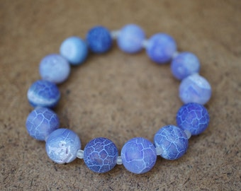 Blue agate beaded bracelet, stretch cord, gemstone, women, gift