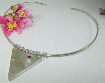 Serling Silver & 9ct Gold Choker