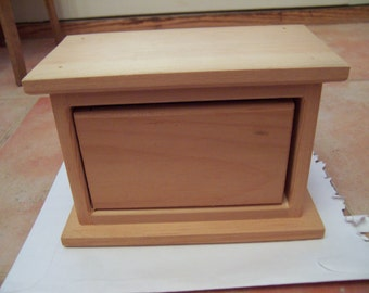 Unfinished Wood Single Drawer Recipe Box - New & Ready to Paint