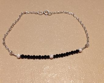 sterling silver & black spinel bracelet
