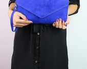 Royal Blue Turquoise Dark Blue Navy Genuine Italian Suede Envelope Clutch Bag
