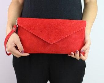 Beige Burgundy Red Genuine Italian Suede Envelope Clutch Bag