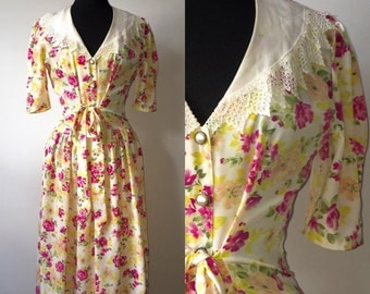 Vintage 1980s floral drop waist dress size 10