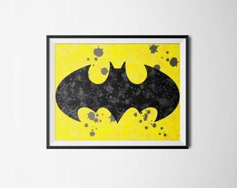 Batman Symbol Ink Splatter Print