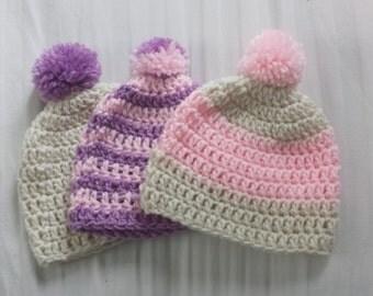Baby Girl Set of 3 Hats Shower Gift Newborn Photography Prop