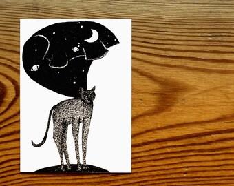 Postcard animal motif in black and white