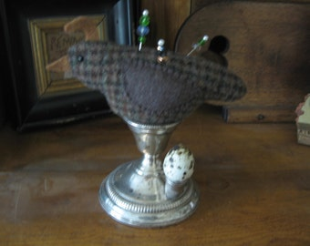 Handcrafted Make-do Quail Pincushion on Silver Stand With Thimble/Quail Egg