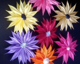 Flower made of double satin ribbon