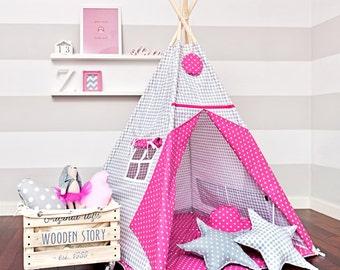 Teepee set with floor mat and pillows – Romantic Fuchsia