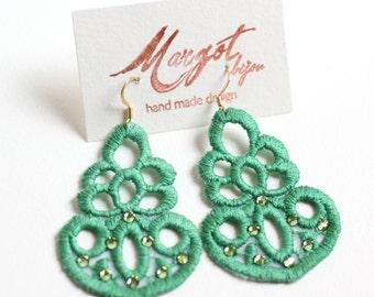 Lace Earrings/ Swarovski Earrings/FashionEarrings/Women Earrings/ Green/Statement Earrings
